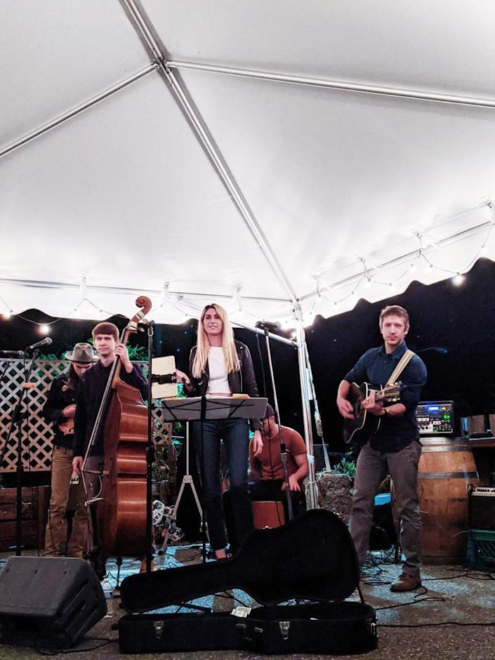 That's me in the center, playing with The Noble Brothers band at a local outdoor venue recently. (Brie Devlin)