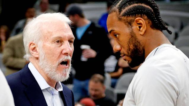 """Gregg Popovich and <a class=""""link rapid-noclick-resp"""" href=""""/nba/players/4896/"""" data-ylk=""""slk:Kawhi Leonard"""">Kawhi Leonard</a> have different definitions of leadership. (Getty Images)"""