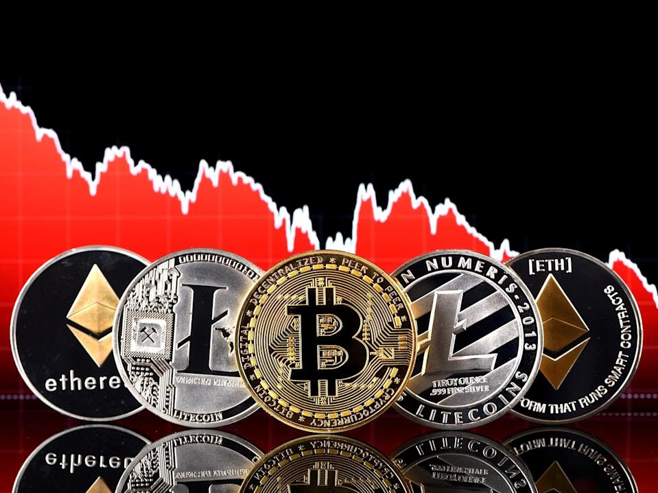 <p>The price of bitcoin, cardano, ethereum and litecoin all fell dramatically in May 2021</p> (Getty Images)