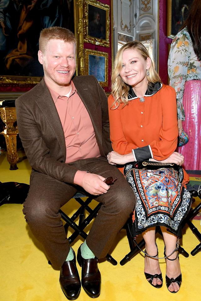 """<p>The <a href=""""https://www.yahoo.com/celebrity/kirsten-dunst-jesse-plemons-engaged-224000271.html"""" data-ylk=""""slk:engaged former Fargo co-stars"""" class=""""link rapid-noclick-resp"""">engaged former <i>Fargo</i> co-stars</a> got all gussied up for the 2018 Gucci Cruise fashion show in Florence, Italy. Only a few days before, Dunst was at the Cannes Film Festival for the premiere of her latest Sofia Coppola movie, <i>The Beguiled</i>. (Photo by Venturelli/Getty Images for Gucci) </p>"""