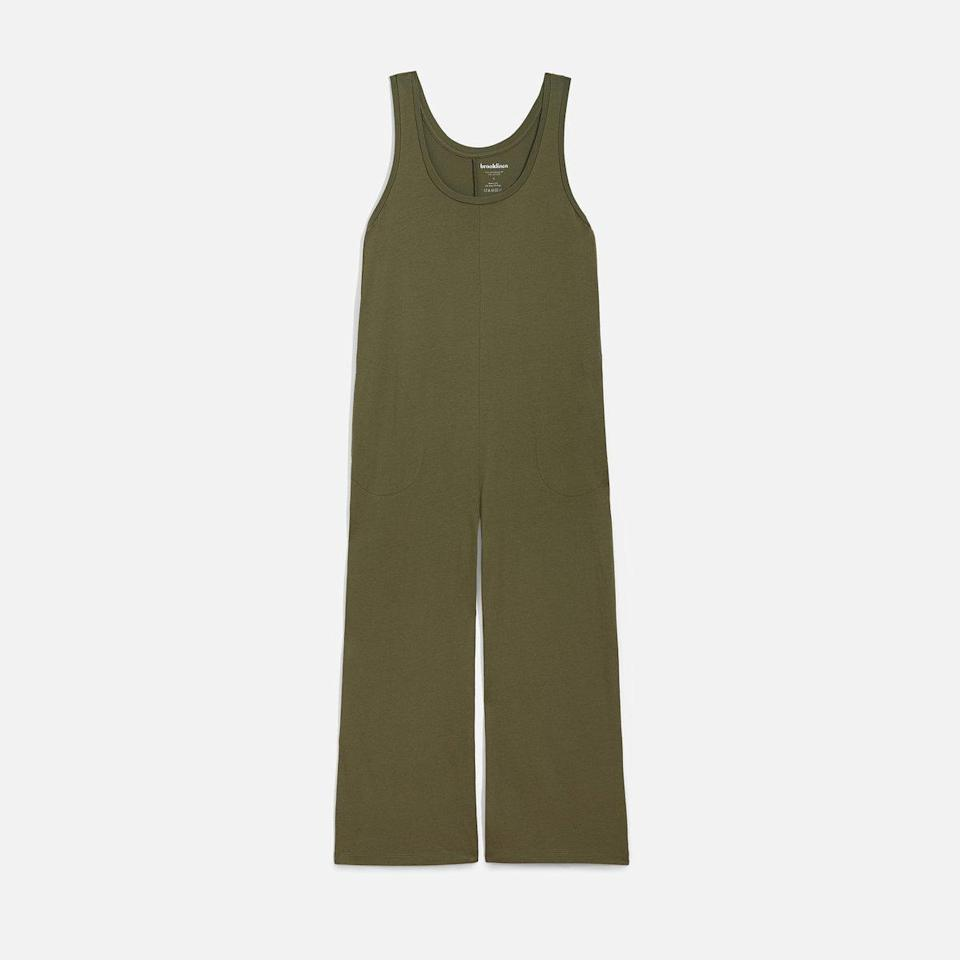 """<p>There seriously isn't a more easy-breezy clothing item than a stretchy one-piece. The Brooklinen Adelphi Jumpsuit is great for layering under a warm cardigan when you have to head outdoors. And while inside, the soft jersey material can be worn as a work outfit or to bed. </p> <p><strong>Sizes available:</strong> XS to XXL</p> <p><strong>$68</strong> (<a href=""""http://shrsl.com/2o76o"""" rel=""""nofollow noopener"""" target=""""_blank"""" data-ylk=""""slk:Shop Now"""" class=""""link rapid-noclick-resp"""">Shop Now</a>)</p>"""