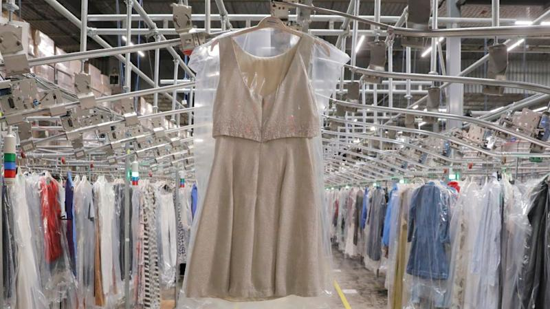 A dress in plastic at Rent the Runway's huge New Jersey fulfillment center.