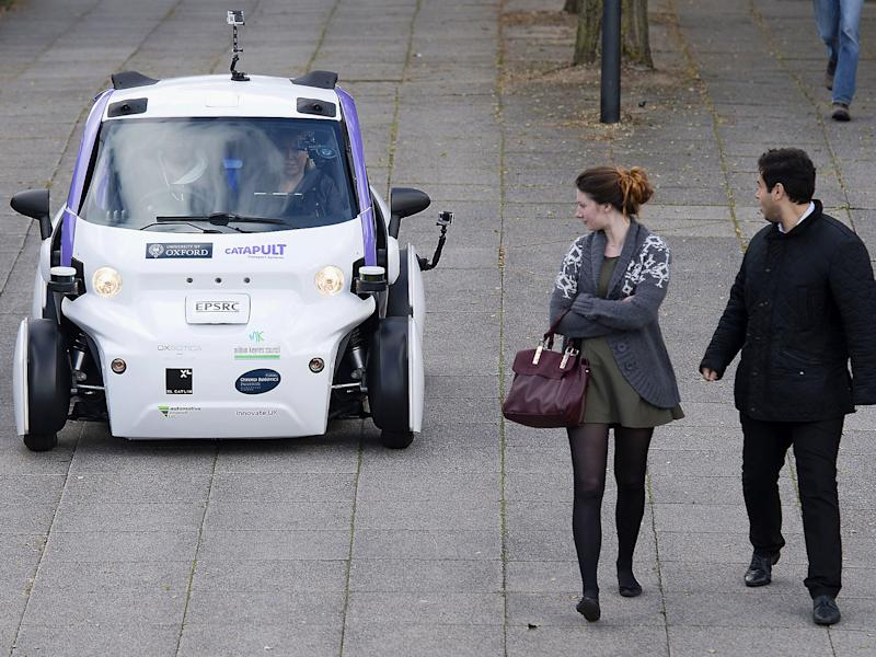 A driverless car is tested in Milton Keynes last year: Getty