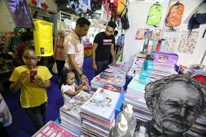 Parents shopping for school supplies at a school supplies fair in Cairo, Egypt, on 28 September 2021. New academic school starts on 9 October 2021.