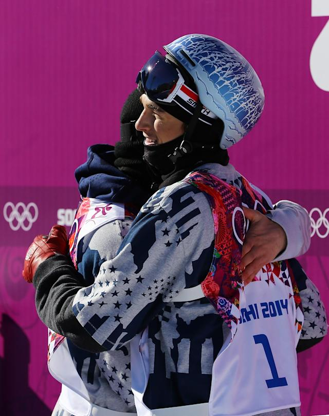 SOCHI, RUSSIA - FEBRUARY 13: Gus Kenworthy (L) and Nicholas Goepper of the United States hug after competing in the Freestyle Skiing Men's Ski Slopestyle Finals during day six of the Sochi 2014 Winter Olympics at Rosa Khutor Extreme Park on February 13, 2014 in Sochi, Russia. (Photo by Al Bello/Getty Images)