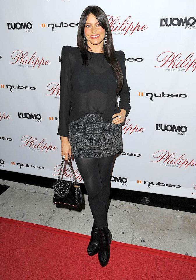 """Modern Family"" star Sofia Vergara's struck an uncomfortable pose in a sheer black top with exaggerated shoulder pads. Hopefully she didn't poke anybody's eye out! Jason Merritt/<a href=""http://www.gettyimages.com/"" target=""new"">GettyImages.com</a> - October 12, 2009"