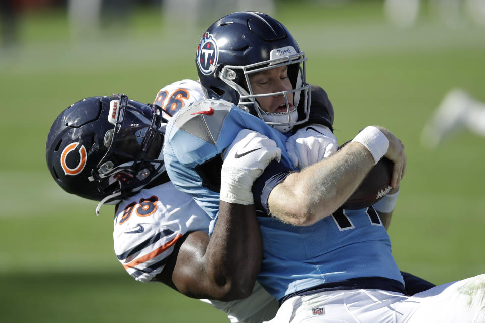 Chicago Bears nose tackle Bilal Nichols (98) sacks Tennessee Titans quarterback Ryan Tannehill (17) for an 8-yard loss in the first half of an NFL football game Sunday, Nov. 8, 2020, in Nashville, Tenn. (AP Photo/Ben Margot)