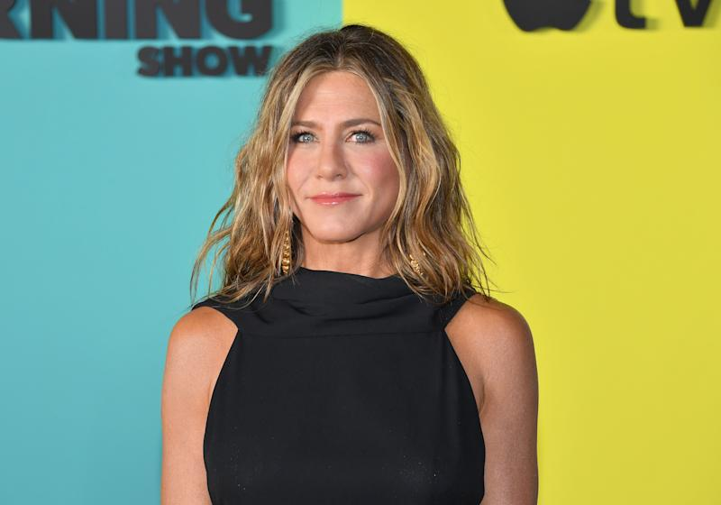 "US actress Jennifer Aniston arrives for Apples ""The Morning Show"" global premiere at Lincoln Center- David Geffen Hall on October 28, 2019 in New York. (Photo by Angela Weiss / AFP) (Photo by ANGELA WEISS/AFP via Getty Images)"
