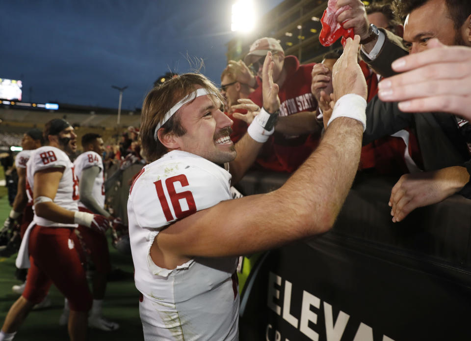 Gardner Minshew will take his glorious mustache to the Alamo Bowl where Washington State plays Iowa State. (AP)