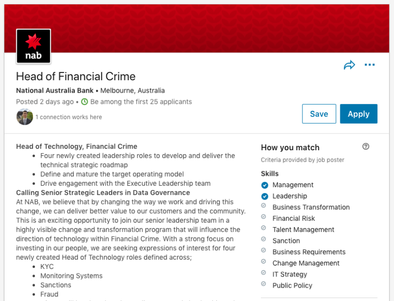 NAB's job ad for a 'Head of Financial Crime' was noticed by