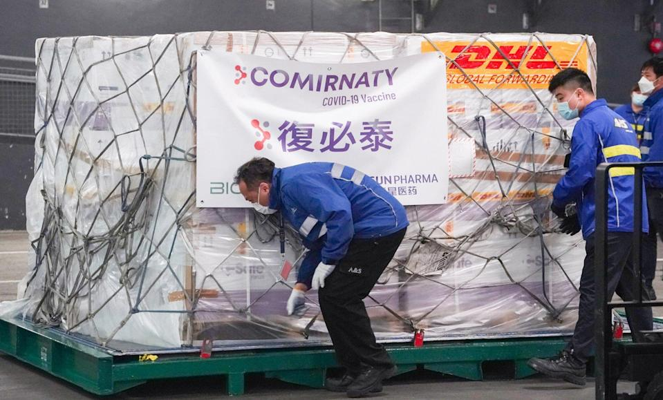 The first batch of Pfizer-BioNTech Covid-19 vaccines arrives at Hong Kong International Airport in February. Photo: Felix Wong