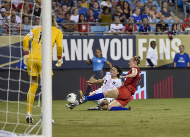 United States' Becky Sauerbrunn, (4) tackles South Korea's Kang Chaerim, (23) during a soccer match Thursday, Oct. 3, 2019, in Charlotte, N.C. (AP Photo/Mike McCarn)