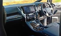 At the front, the driver gets greeted by a luxurious dash. There is high quality soft-touch leather everywhere and a massive screen with touch controls. Being an MPV there are big storage places, too.