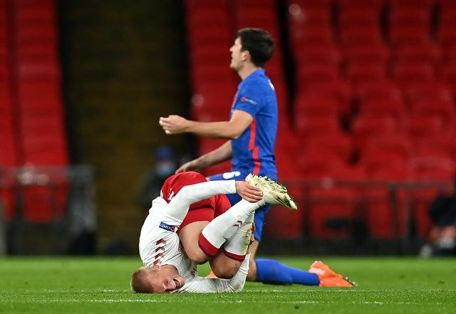 Kasper Dolberg after a foul by Harry Maguire