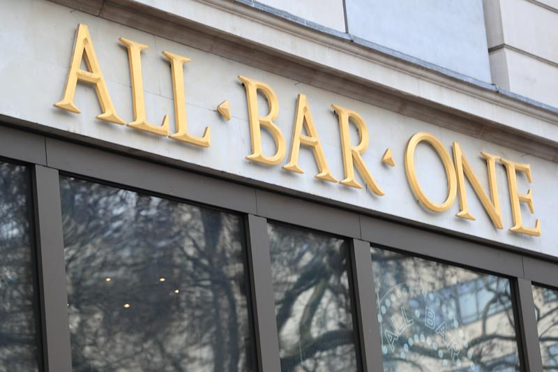A view of a sign for a All Bar One modern bar in London