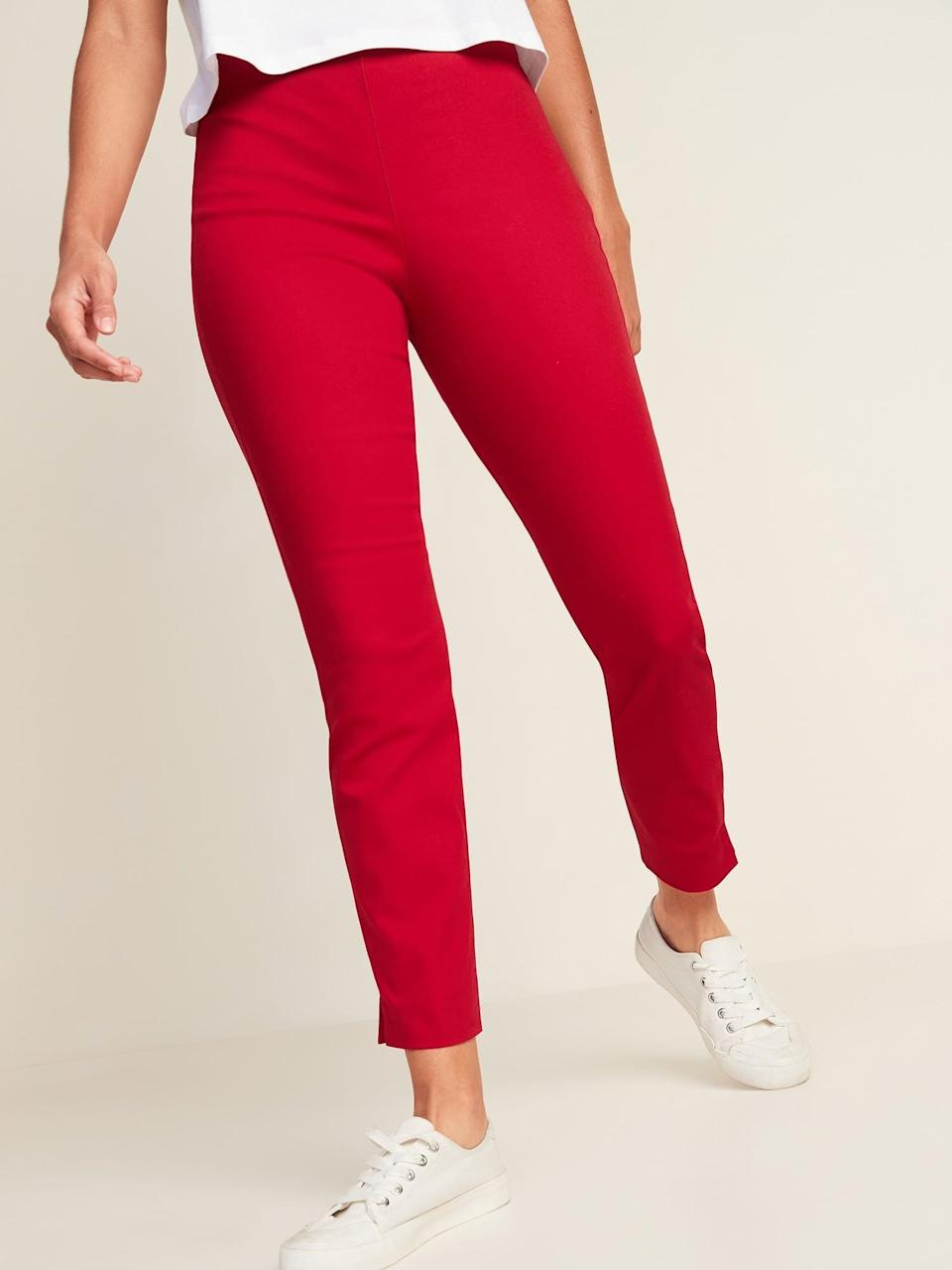 <p>Go for a more vibrant shade with these <span>Old Navy High-Waisted Twill Super Skinny Ankle Pants</span> ($30) in red.</p>