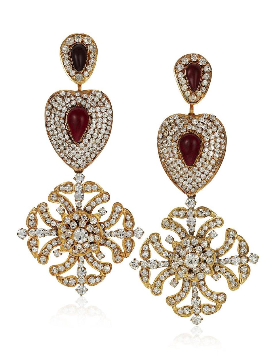 "<p>These knockout earrings are estimated to be worth $1,500 to $2,000.</p><p>Want to see more? Browse the full collection of 106 items on <a href=""https://www.christies.com/en/auction/susan-and-karl-important-chanel-fashion-jewelry-from-the-collection-of-mrs-john-h-gutfreund-19910-nyr/overview"" rel=""nofollow noopener"" target=""_blank"" data-ylk=""slk:Christie's"" class=""link rapid-noclick-resp"">Christie's</a> online auction site. </p>"