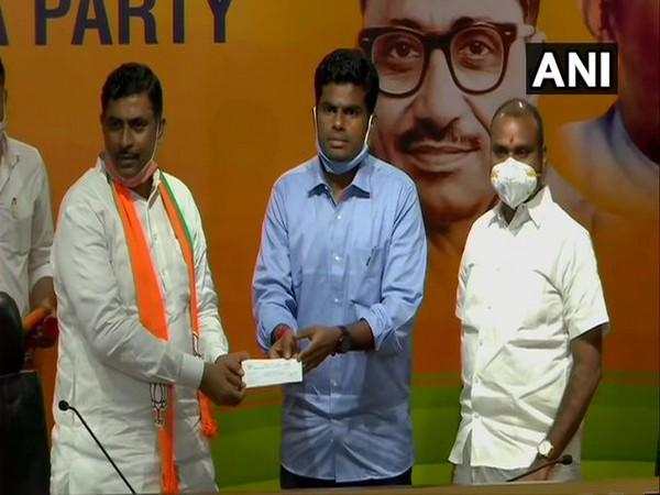 Former IPS officer Annamalai Kuppusamy joined the BJP today. [Photo/ANI]