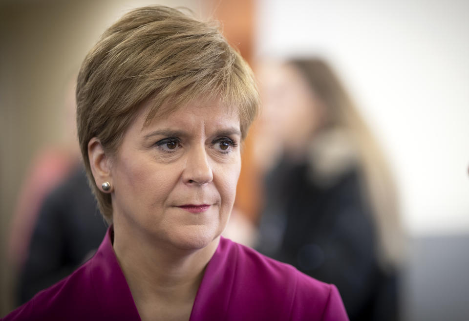 First Minister Nicola Sturgeon speaking a visit to the NHS 24 contact centre at the Golden Jubilee National Hospital in Glasgow to meet staff supporting Scotland�s public information response to coronavirus (COVID-19).
