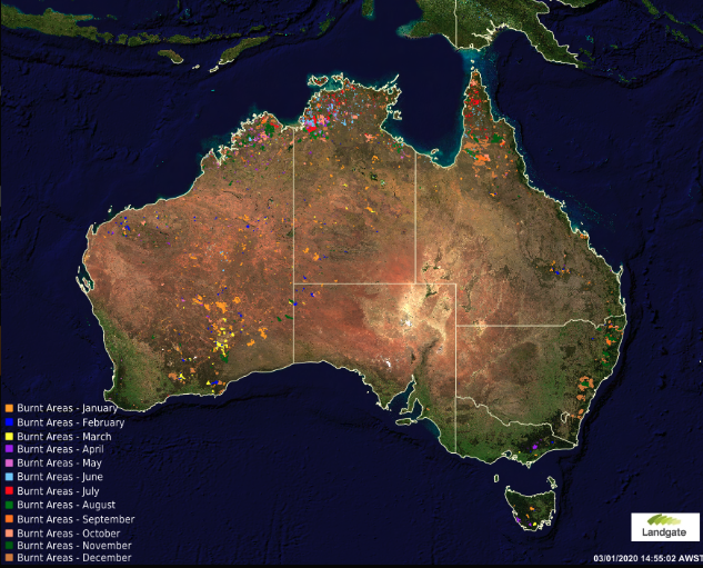 A map shows land burned by fires in Australia by month during the year 2019. | Landgate's MyFireWatch