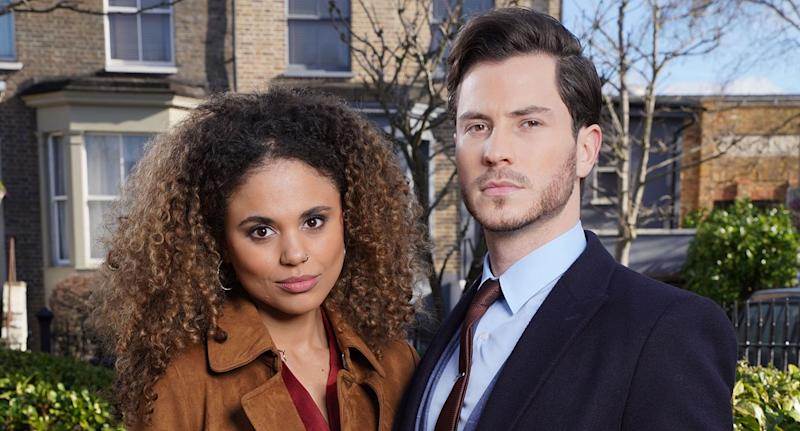Chantelle Atkins (JESSICA PLUMMER) and Gray Atkins (TOBY-ALEXANDER SMITH) (BBC / Kieron McCarron)