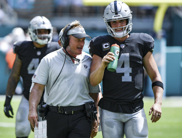 QB Derek Carr is signed through 2022 with the Raiders. It remains to be seen if he'll last that long with head coach Jon Gruden. (Getty Images)