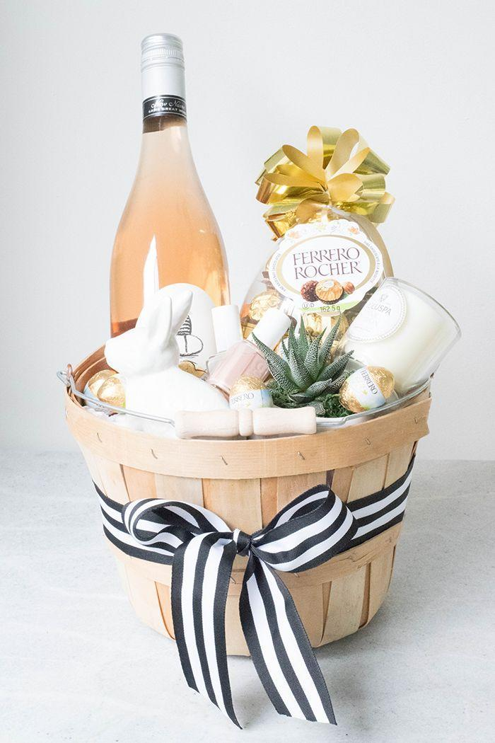 """<p>Say """"thank you"""" to your Easter brunch hostess with a basket full of her favorite things, including wine, chocolate, and spa goodies. </p><p><em><a href=""""http://www.cakeforbreakfastblog.com/2015/03/grown-up-easter-basket.html"""" rel=""""nofollow noopener"""" target=""""_blank"""" data-ylk=""""slk:Get the tutorial from Cake for Breakfast »"""" class=""""link rapid-noclick-resp"""">Get the tutorial from Cake for Breakfast »</a></em> </p>"""