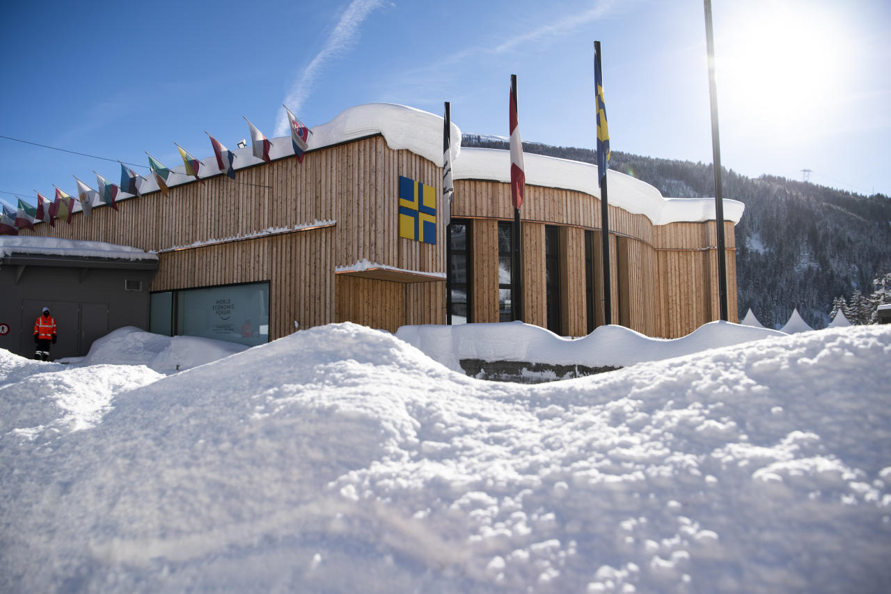 <p> The congress centre, venue for the World Economic Forum, is covered with snow in Davos, Switzerland, Tuesday, Jan. 15, 2019. The World Economic Forum will take place in Davos from Jan. 22, 2019 until Jan. 25, 2019. (Gian Ehrenzeller/Keystone via AP) </p>