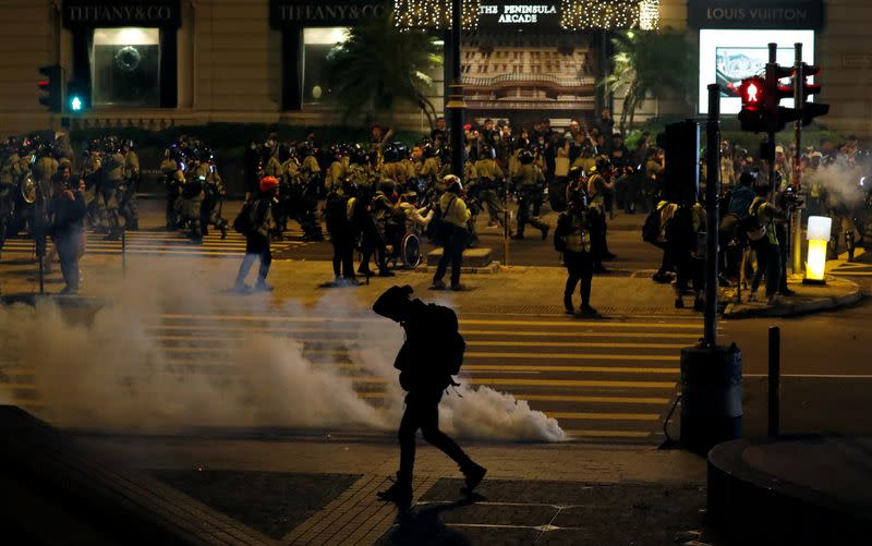 Anti-government demonstrators protest on Christmas Eve in Hong Kong