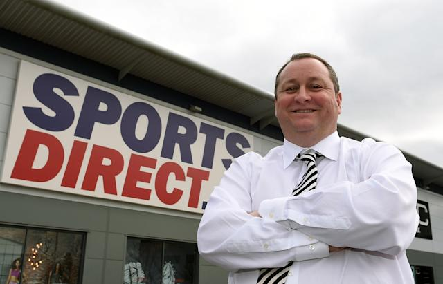 Sports Direct founder Mike Ashley outside the Sports Direct headquarters in Shirebrook, Derbyshire. (AP)