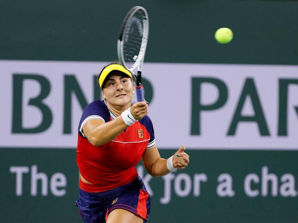 Canada's Bianca Andreescu, shown in this file photo in a match against Alison Riske, suffered her first loss at the BNP Paribas Open on Monday in Indian Wells, Cali. (Tim Nwachukwu/Getty Images - image credit)