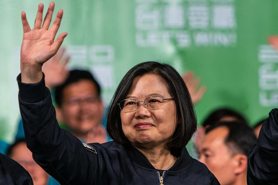 TAIPEI, TAIWAN - 2020/01/11: Tsai Ing-wen, Taiwan's president, wave to her supporters during the victory rally after winning the election. The president of Taiwan Tsai Ing-wen won a landslide victory in the 2020 presidential election by securing over 57% of the votes beating her major opponent Han Kuo-yu who only secured 38% of the votes. (Photo by Chan Long Hei/SOPA Images/LightRocket via Getty Images)