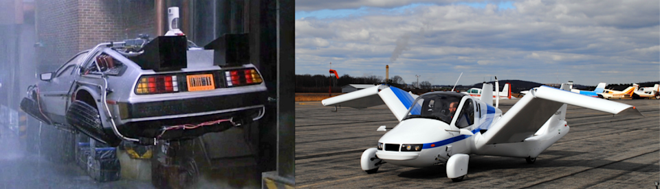 """<p>Science fiction movies have given us flying cars before, but few are as cool as Doc Brown's tricked-out, time-traveling DeLorean. (Well, <a href=""""http://bladerunner.wikia.com/wiki/Spinner"""" rel=""""nofollow noopener"""" target=""""_blank"""" data-ylk=""""slk:one other flying car"""" class=""""link rapid-noclick-resp"""">one other flying car </a>comes to mind.) In <i>Back to the Future Part II</i>, flying vehicles are commonplace circa 2015.</p><p>In the current timeline we call reality, not so much — although you may be surprised at what some manufacturers are getting up to. For example, the MIT spinoff company Terrafugia has already built a street-legal (and FAA-approved) auto-airplane hybrid. It's called the <a href=""""http://www.terrafugia.com/aircraft/transition"""" rel=""""nofollow noopener"""" target=""""_blank"""" data-ylk=""""slk:Transition"""" class=""""link rapid-noclick-resp"""">Transition</a>, and it's just one of <a href=""""http://metro.co.uk/2015/03/16/first-real-flying-car-will-go-on-sale-in-2017-5105377/"""" rel=""""nofollow noopener"""" target=""""_blank"""" data-ylk=""""slk:several flying cars"""" class=""""link rapid-noclick-resp"""">several flying cars</a> in various stages of development worldwide.</p>"""