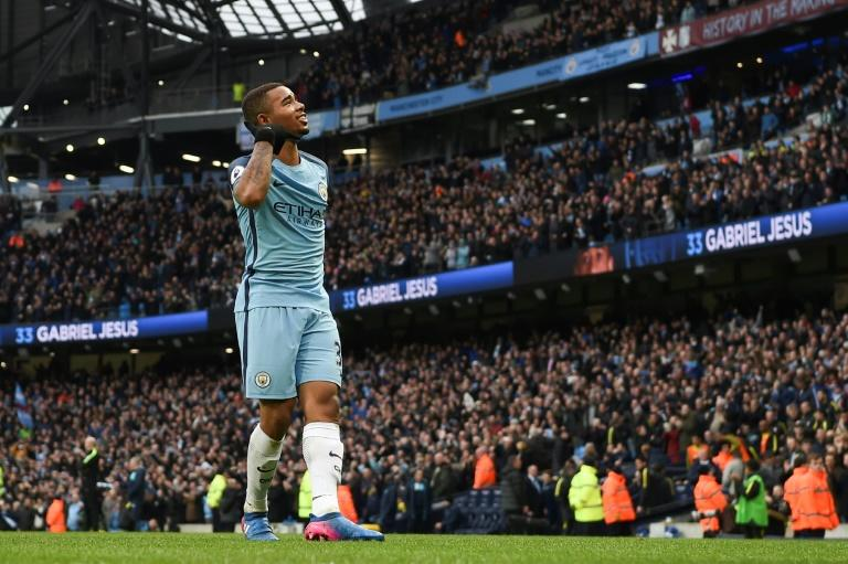 Gabriel Jesus celebrates after scoring Manchester City's winner against Swansea City at the Etihad Stadium in Manchester on February 5, 2017