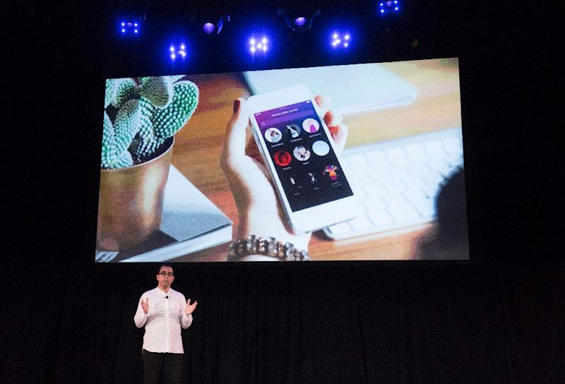 Barbar Zafar, Spotify VP of Product Developement, at a Spotify annoucement in New York (AFP Photo/Don EMMERT)