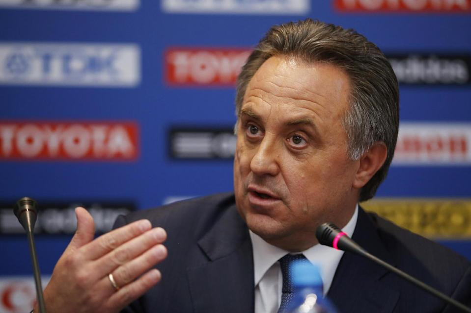 """FILE - In this Aug. 8, 2013, file photo, Russian sports minister Vitaly Mutko speaks during a news conference at a hotel in Moscow ahead of the IAAF athletics World Championships. Mutko said Sunday, Aug. 18, 2013, that Russia's law banning gay """"propaganda"""" for minors won't infringe on the private lives of athletes and spectators at next year's Winter Olympics in Sochi_but the comments on the final day of the athletics world championships leave it open as to whether Olympic athletes and fans could be subject to prosecution if they make statements that could be considered propaganda. (AP Photo/Matt Dunham, File)"""