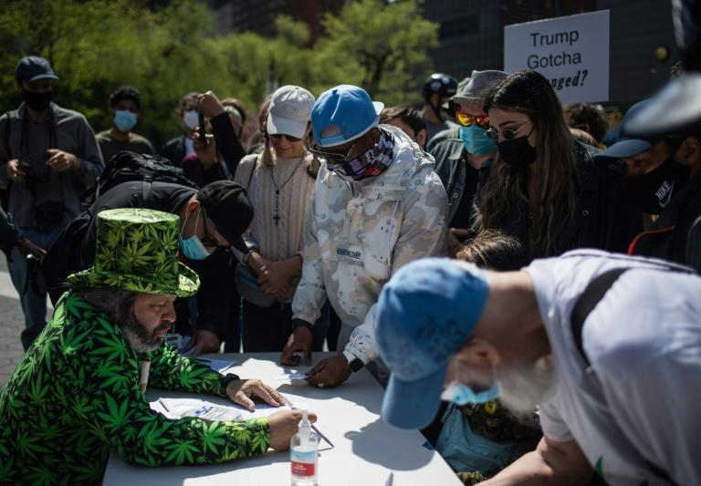 Marijuana activists hand out free joints to vaccinated New Yorkers on April 20, 2021 in New York City