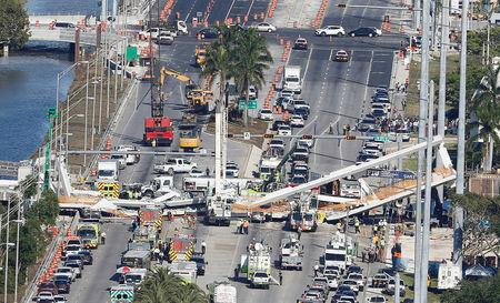 FILE PHOTO: Aerial view shows a pedestrian bridge collapsed at Florida International University in Miami