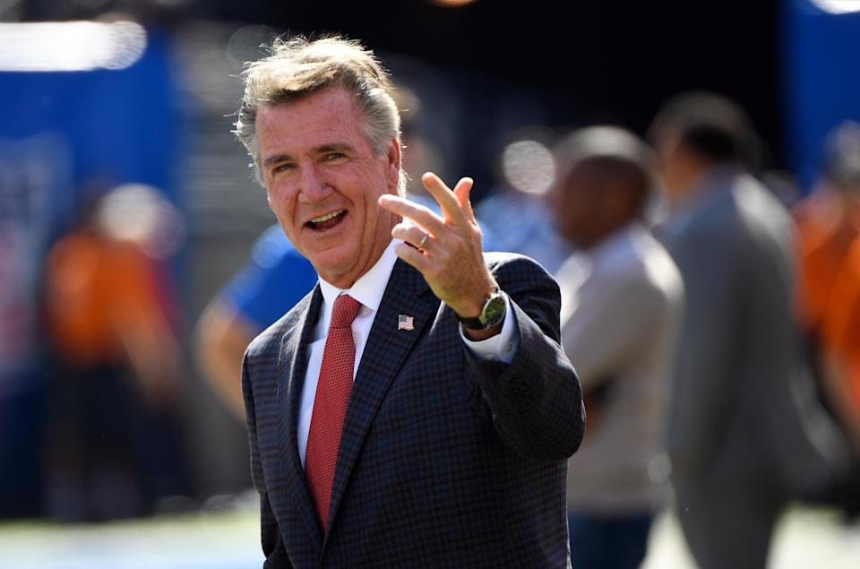 Redskins president Bruce Allen on the sidelines before the game against the New York Giants at MetLife Stadium. Mandatory Credit: Robert Deutsch-USA TODAY Sports