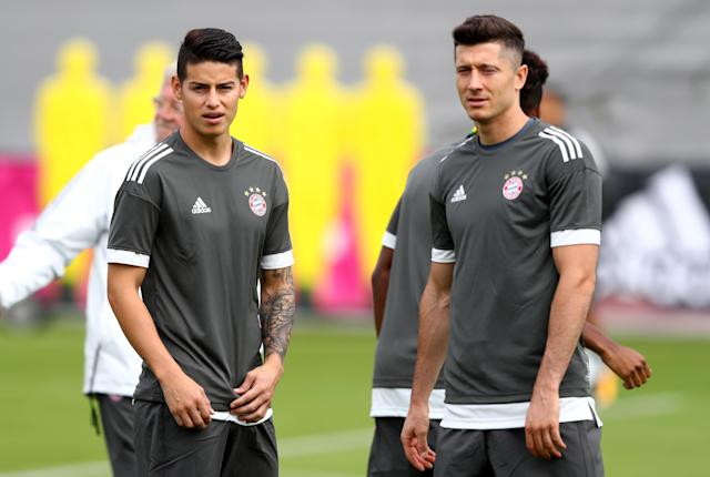 James Rodriguez and Robert Lewandowski are club teammates. They're also the two best players in 2018 World Cup Group H. (Getty)