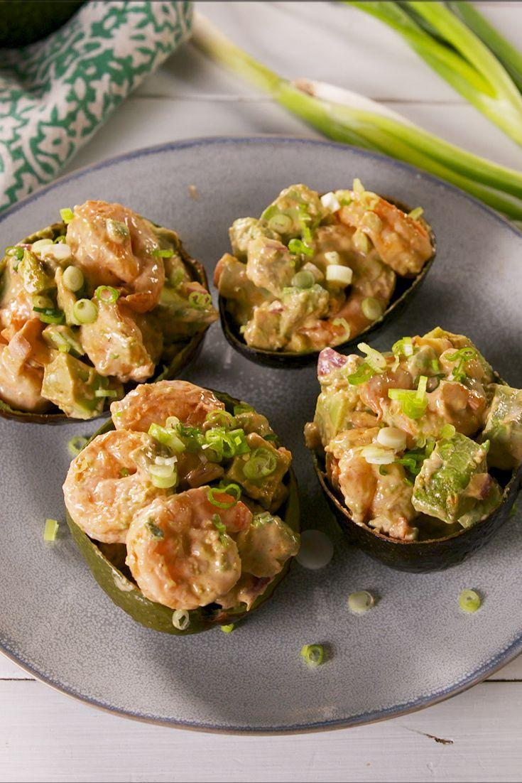 """<p>These have a real kick of heat.</p><p>Get the recipe from <a href=""""https://www.delish.com/cooking/recipe-ideas/a28688815/spicy-shrimp-stuffed-avocados-recipe/"""" rel=""""nofollow noopener"""" target=""""_blank"""" data-ylk=""""slk:Delish"""" class=""""link rapid-noclick-resp"""">Delish</a>.</p>"""