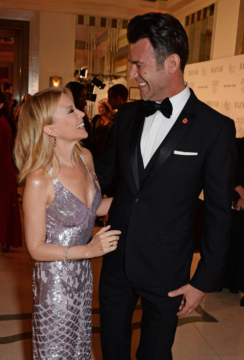 LONDON, ENGLAND - OCTOBER 30: Kylie Minogue and Paul Solomons attend the Harper's Bazaar Women Of The Year Awards 2018, in partnership with Michael Kors and Mercedes-Benz, at Claridge's Hotel on October 30, 2018 in London, England. (Photo by David M. Benett/Dave Benett/Getty Images for Harper's Bazaar/Hearst UK)