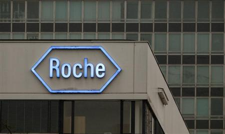 The logo of Swiss pharmaceutical company Roche is seen at the company's headquarters in Basel