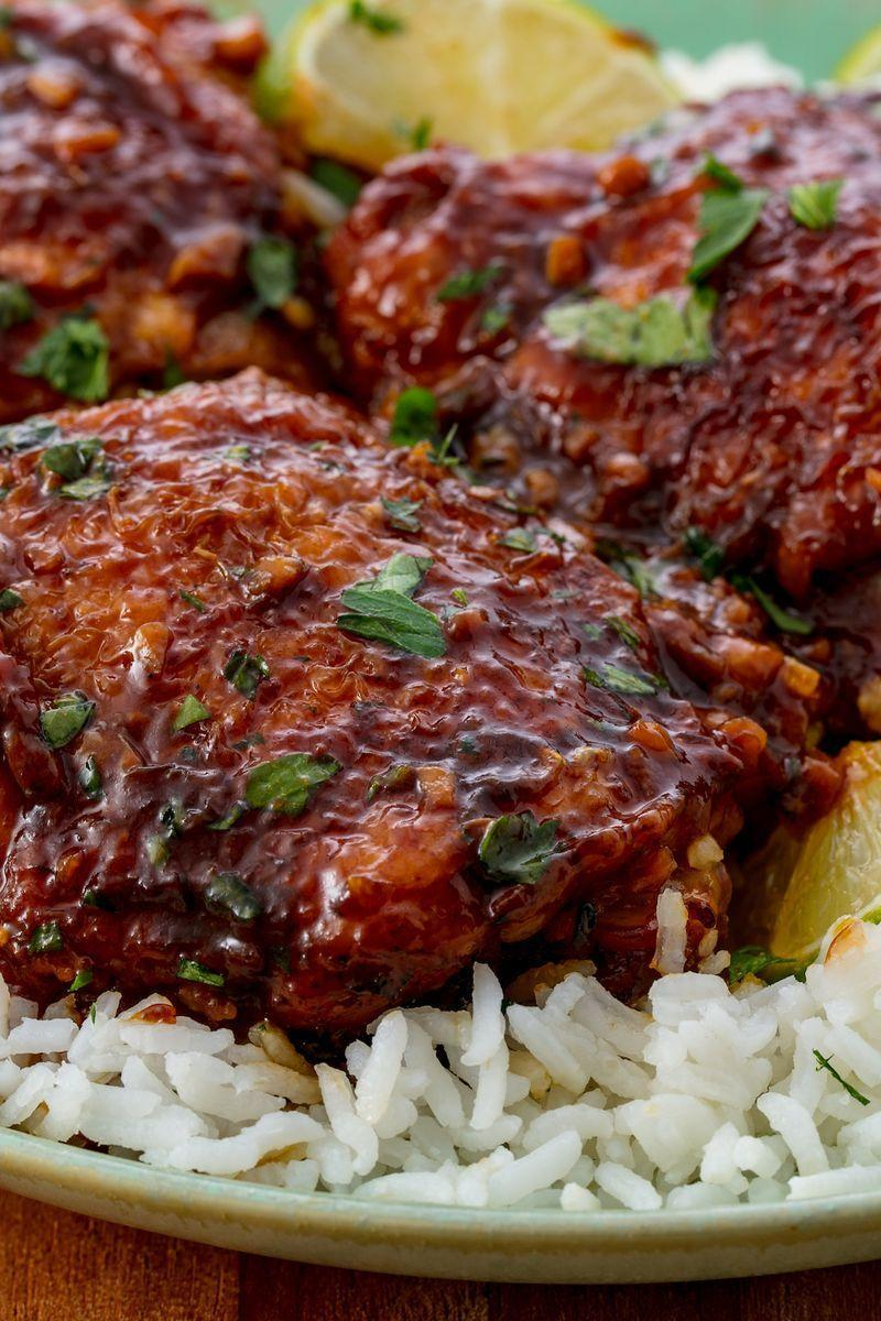 """<p>Searing the chicken thighs may seem like an annoying step, but trust us, it's worth it. Not only does it get the chicken skin nice and crispy (because it does lose some crispiness in the slow cooker), but it also caramelises the fat, adding a ton more flavour.</p><p>Get the <a href=""""https://www.delish.com/uk/cooking/recipes/a28869017/easy-slow-cooker-chicken-thighs-recipe/"""" rel=""""nofollow noopener"""" target=""""_blank"""" data-ylk=""""slk:Slow Cooker Chicken Thighs"""" class=""""link rapid-noclick-resp"""">Slow Cooker Chicken Thighs</a> recipe.</p>"""