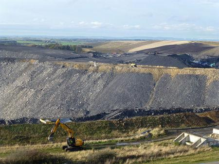 FILE PHOTO: A view of the slopes of the Banks Group Shotton open cast mine in Northumberland, Britain, November 11, 2016. Picture taken November 11, 2016. REUTERS/Barbara Lewis/File Photo