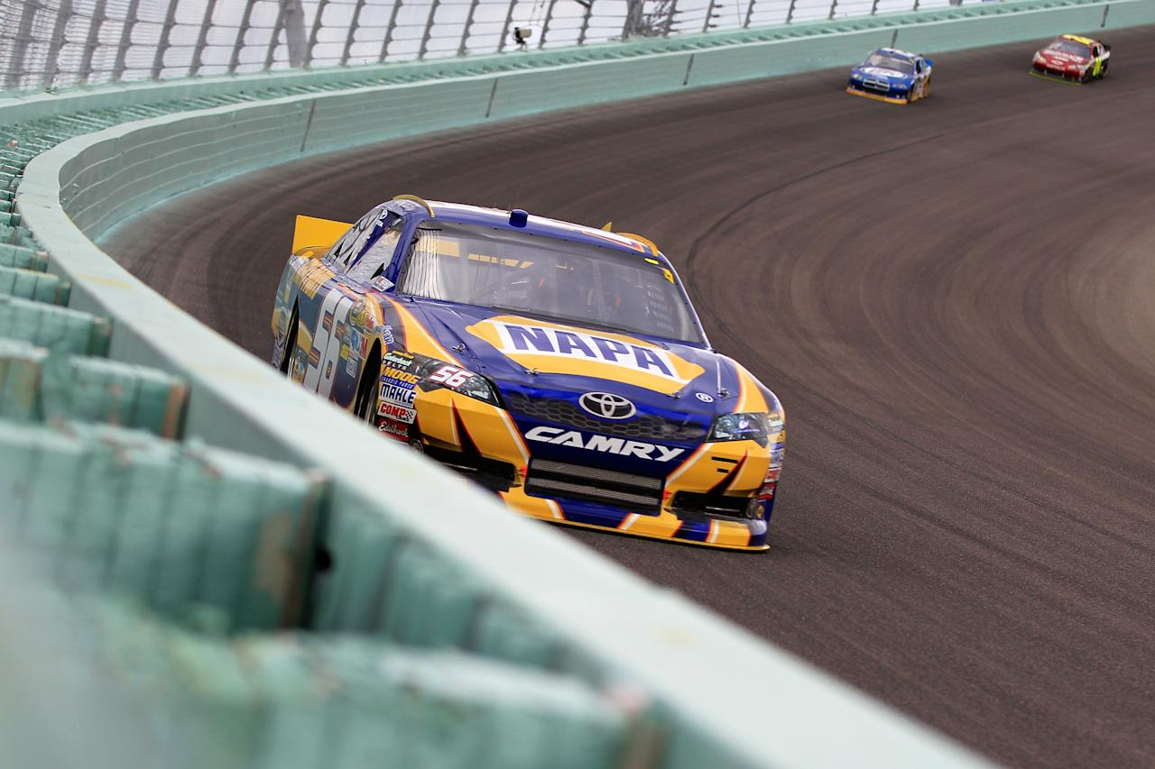 HOMESTEAD, FL - NOVEMBER 20:  Martin Truex Jr., drives the #56 NAPA Auto Parts Toyota, during the NASCAR Sprint Cup Series Ford 400 at Homestead-Miami Speedway on November 20, 2011 in Homestead, Florida.  (Photo by Chris Trotman/Getty Images for NASCAR)
