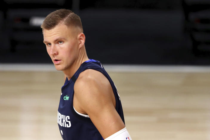 Is it time to start worrying about Kristaps' Porzingis durability? (Mike Ehrmann/Pool Photo via AP)