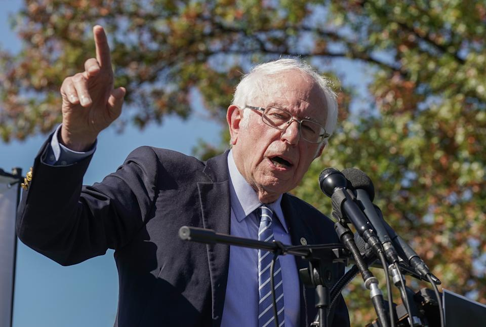 U.S. Senator Bernie Sanders speaks at a protest calling for the Republican Senate to delay the confirmation of Supreme Court Justice Nominee Amy Coney Barrett at the U.S. Capitol on October 22, 2020 in Washington, DC. (Jemal Countess/Getty Images for Care In Action)