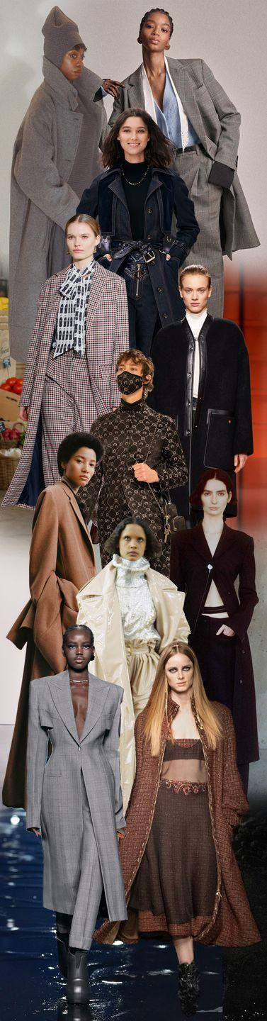 <p>The trusted suit has gotten a revamp. Traditionally, the style is composed of a blazer-and-trouser combo; blazer and skirts have also become commonplace. For fall 2021, designers introduced something new into the fold: coats. Instead of fitted jackets, Givenchy, Jason Wu, Proenza Schouler, and more showcased palazzo, paper-bag-waist, flared, or cropped trousers all with elongated toppers. It's a look that is meant to be worn and fully appreciated outdoors, which we welcome with open arms now that vaccination centers are doing their thing.</p><p><em>Pictured from top to bottom: A Potts, 3.1 Phillip Lim, Zimmerman, Jason Wu, Hermes, Marine Serre, The Row, Proenza Schouler, Balmain, Givenchy, and Chanel. </em></p>