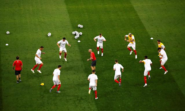 Soccer Football - World Cup - Group E - Brazil vs Switzerland - Rostov Arena, Rostov-on-Don, Russia - June 17, 2018 Switzerland playes during the warm up before the match REUTERS/Jason Cairnduff